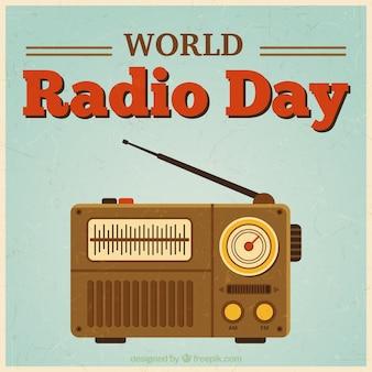 Dia rádio mundo em um estilo do vintage