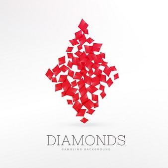 Diamantes forma de jogar elemento fundo cartão