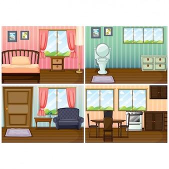 Diferentes áreas de uma casa