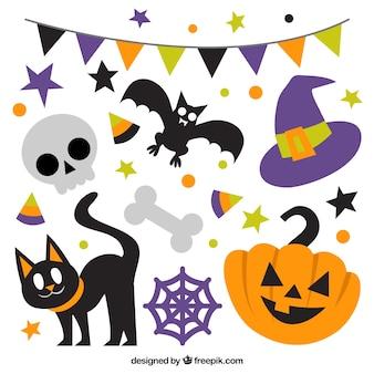 Diferentes elementos para comemorar o dia das bruxas