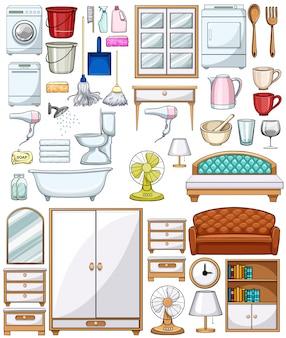 Diferentes equipamentos domésticos e mobiliário