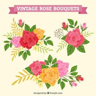 Diferentes estilos de buquês de rosas