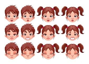Diferentes expressões do menino e da menina do vetor isolado caracteres
