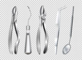 Diferentes ferramentas usadas na ilustração da clínica de dentista