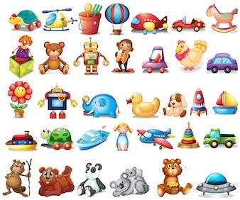 Diferentes tipos de brinquedos