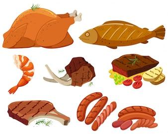Diferentes tipos de ilustração da carne grelhada