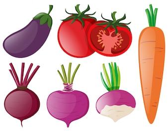 Diferentes tipos de vegetais coloridos