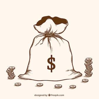 Dinheiro de roubo desenhado à mão