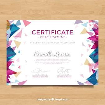 Diploma com formas de cores poligonais