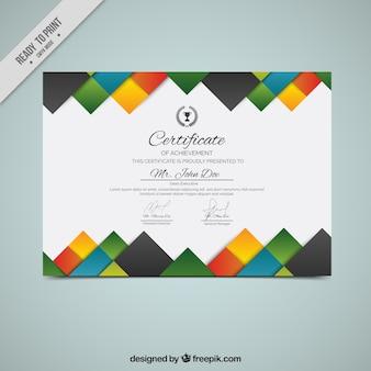 Diploma criativo com quadrados coloridos