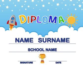 Diploma de criança divertida com foguete