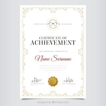 Diploma decorativa de apreciação com quadro clássico