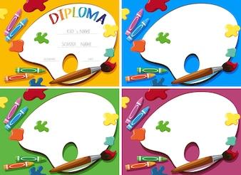Diploma e modelo de cartão com crayons e pincel