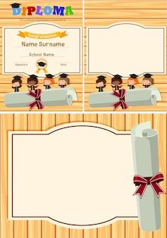 Diploma e modelo de fundo com crianças na placa de madeira