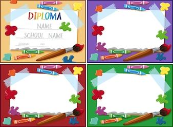 Diploma e modelo de moldura com crayons e pincel