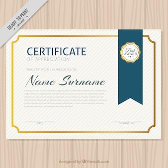 Diploma elegante com beira dourada