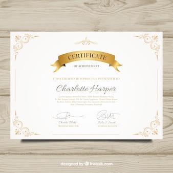 Diploma elegante com elementos dourados decorativos