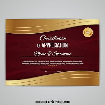 Diploma elegante com ondas douradas