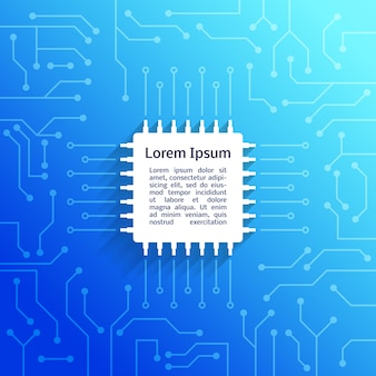 Dispositivo eletrônico placa de circuito fundo azul brilhante poster ilustração vetorial