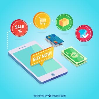 Dispositivo plano, ícones de compras e dinheiro