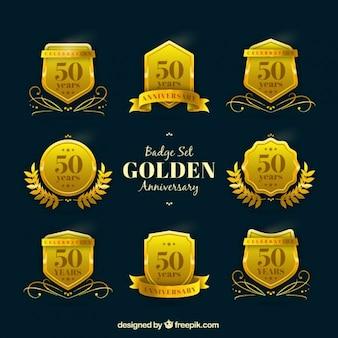 Distintivo definir aniversário dourado