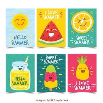 Diversão cartões de verão com personagens