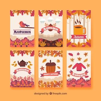 Diversão coleção de cartões de outono