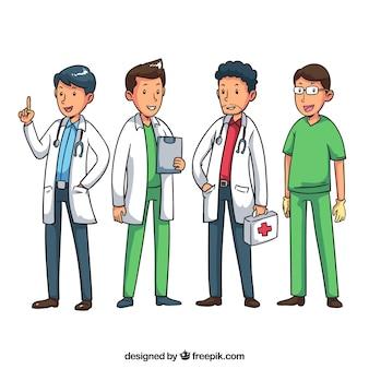 Diversão conjunto de diferentes tipos de médicos