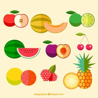 Diversas frutas deliciosas planas