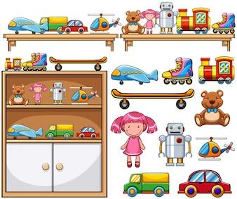 Diversos brinquedos nas prateleiras de madeira