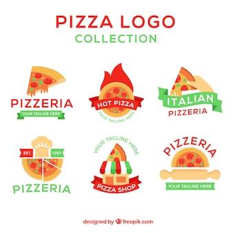 Diversos logotipos de pizza com fitas em estilo vintage