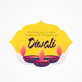 Diwali deseja o design do cartão de saudação com diya