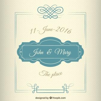 do convite do casamento no estilo do vintage com um quadro bonito