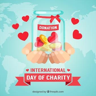 Doações internacionais no dia da instituição de caridade