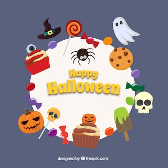 Doces coloridos com elementos de Halloween