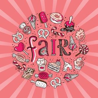 Doces doces, sorvete de chocolate, ícones de esboço, em forma de círculo, conceito justo, ilustração vetorial