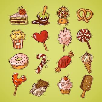 Doces, esboço, ícones decorativos, colorido, conjunto, em camadas, bolo, pipoca, cupcake, isolado, vetor, ilustração