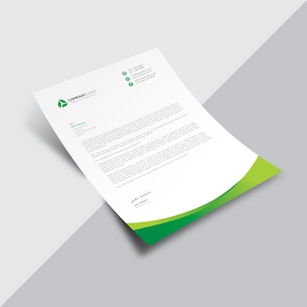 Documento comercial branco com detalhes ondulados verdes