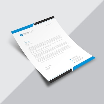Documento empresarial branco com detalhes azuis e brancos