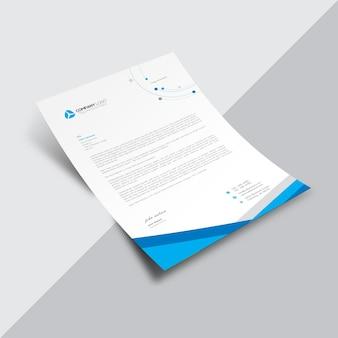 Documento empresarial branco com detalhes geométricos azuis
