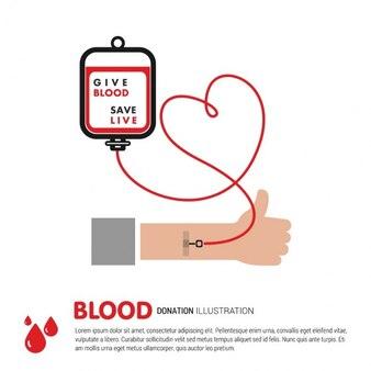 Doe conceito sangue com saco e o coração de sangue