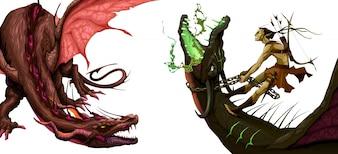Dois, isolado, dragões, vetorial, fantasia, Ilustração