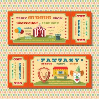 Dois modelos de bilhetes da barraca de show de fadas de circo vintage com ilustração de vetores de palhaços e animais exóticos