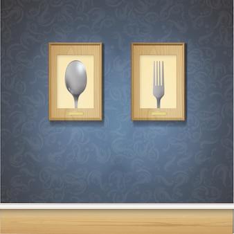 Dois, quadros, escuro, parede