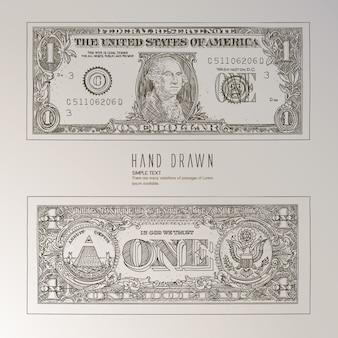 Dólar, mão, desenhado
