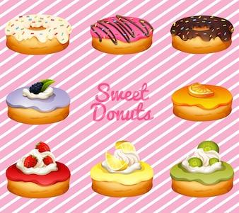 Donuts em diferentes ilustrações de sabor