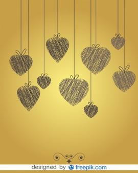 Doodle do vintage fundo do coração
