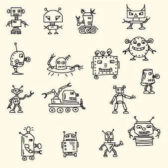 Doodle handrawn robots Ilustração vetorial