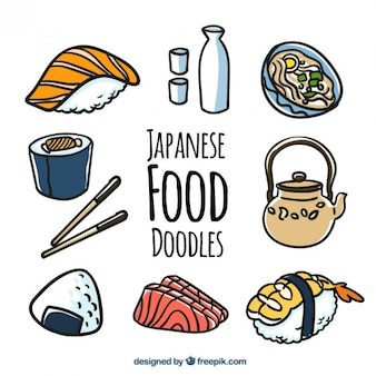 Doodles de comida japonesa