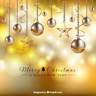 dourado esferas do Natal fundo